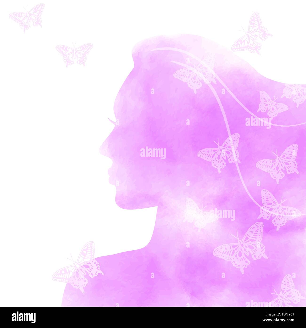 pink watercolor girl face with butterflies - vector illustration. eps 10 - Stock Vector