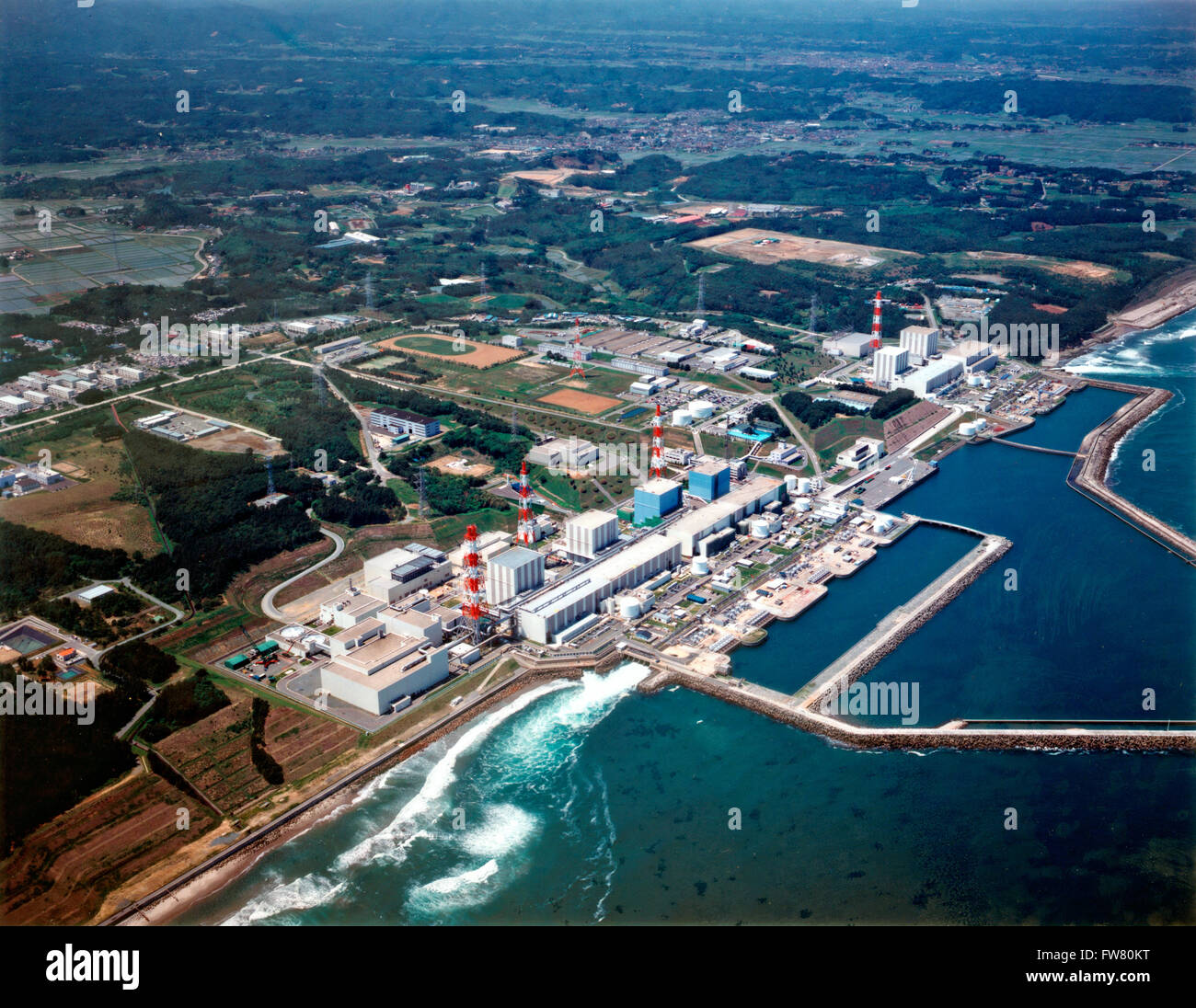 Aerial view of the Fukushima Daiichi Nuclear Power Station February 21, 2007 in Okuma, Japan. The plant suffered - Stock Image