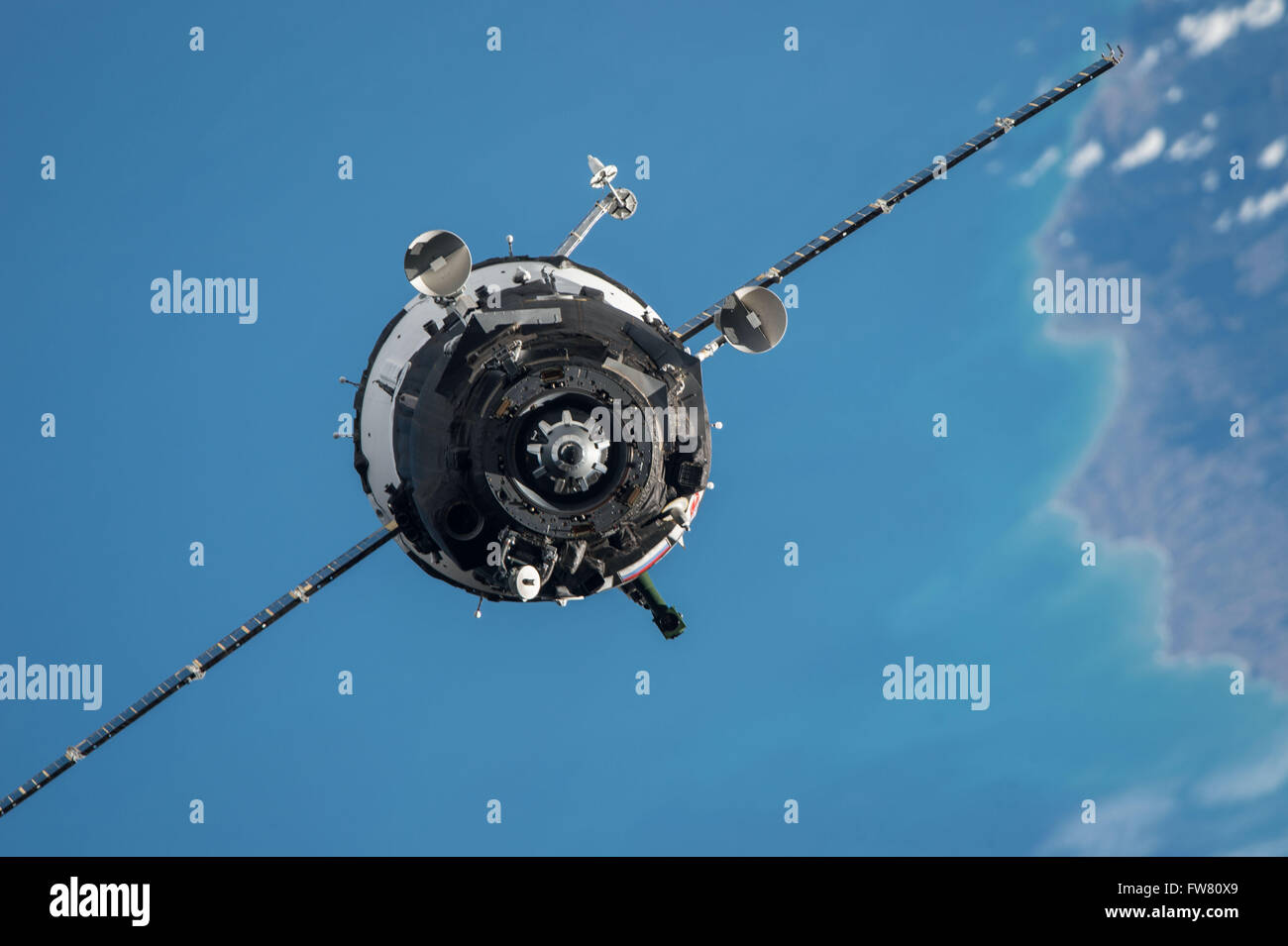 The Soyuz TMA-20M spacecraft approaches the International Space Station to dock March 19, 2016 in Earth Orbit. The - Stock Image