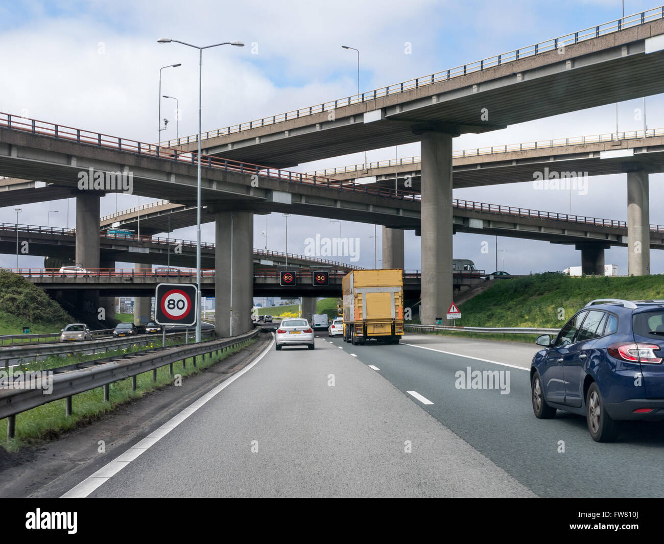 Motorway A12-A4 flyover Prins Clausplein stack interchange in The Hague, Netherlands - Stock Image