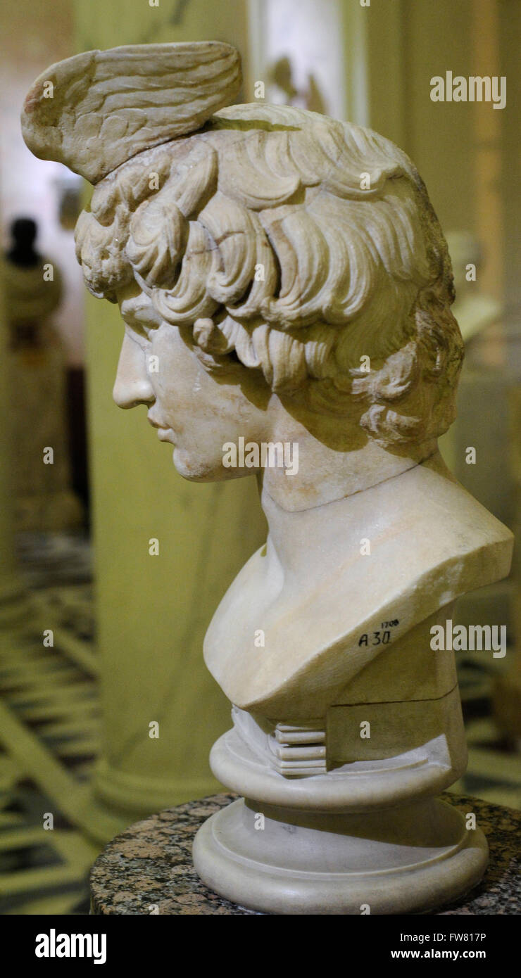 Bust of Antinous (111-130). Bithynian Greek youth an a favorite or lover of Hadrian. Roman work. 2nd century Ad. - Stock Image