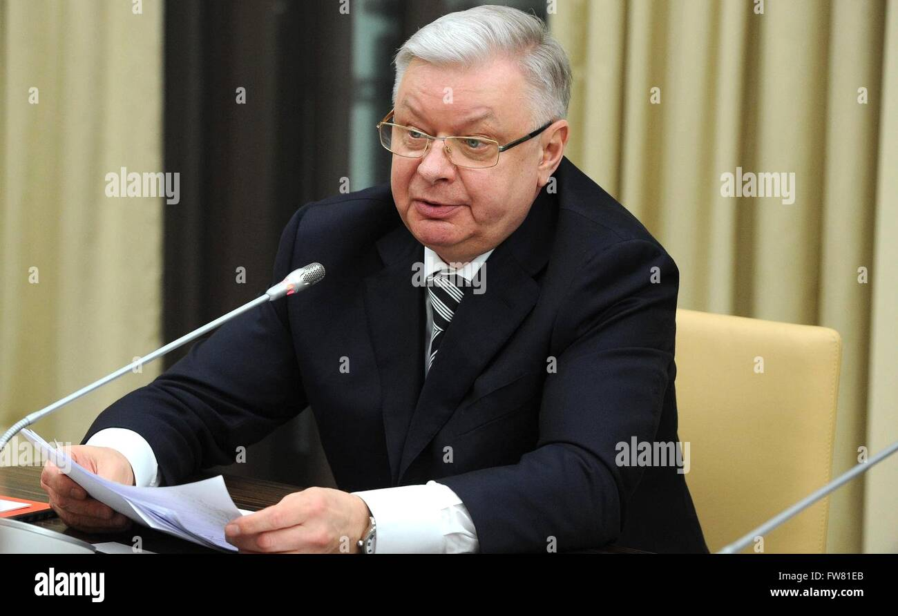 Russian Federal Migration Service Konstantin Romodanovsky during a Russian Security Council meeting with President - Stock Image