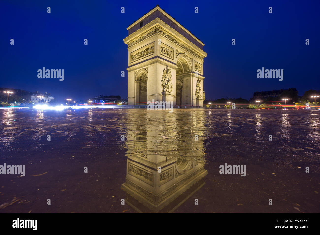 Arc de Triomphe at night - Stock Image