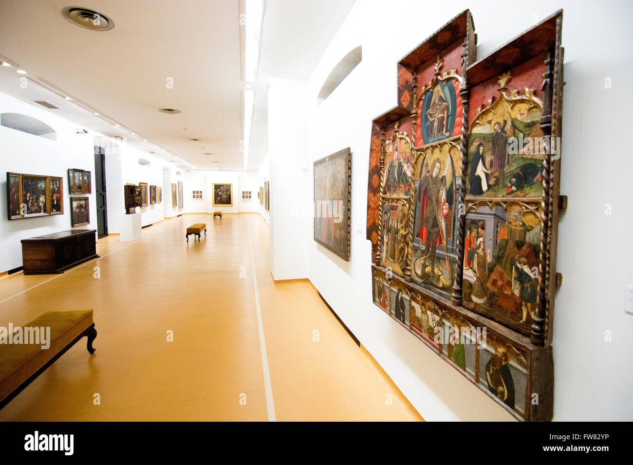 Oviedo, Spain. 31st March, 2016. A new room during the reopening of Museum of Fine Arts of Asturias on March 31, - Stock Image