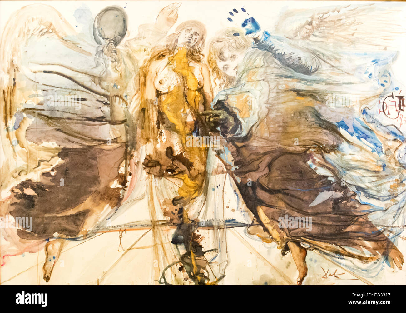 "Oviedo, Spain. 31st March, 2016. Watercolor painting ""Metamorfosis de angeles en mariposa"" of Salvador Dali during Stock Photo"
