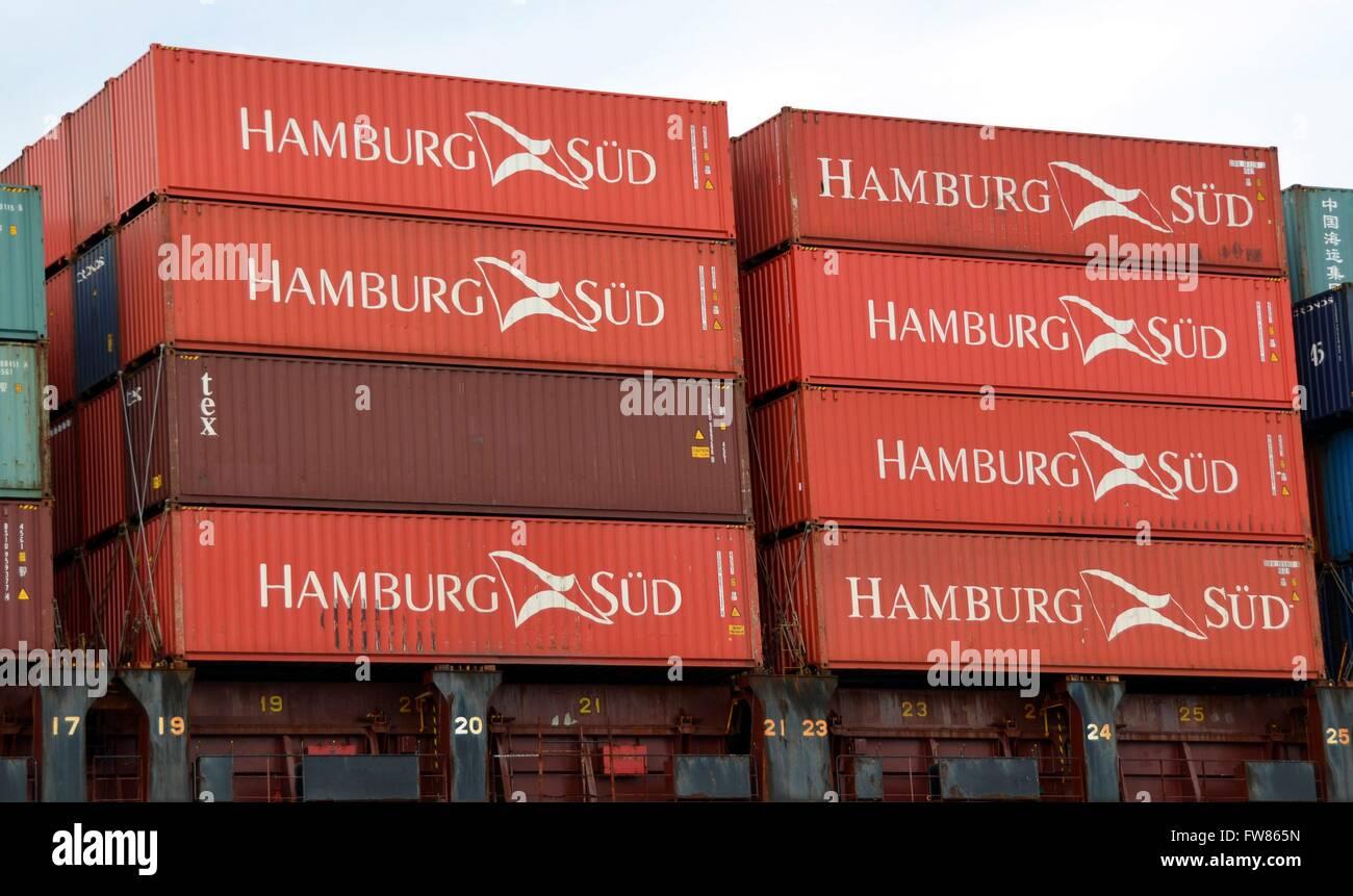 Sea containers of the shipping company Hamburg Süd. Hamburg Süd has its headquaters in Hamburg - Stock Image