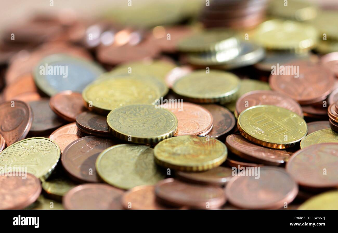 coins on a table, Freiburg, March 1, 2016. - Stock Image