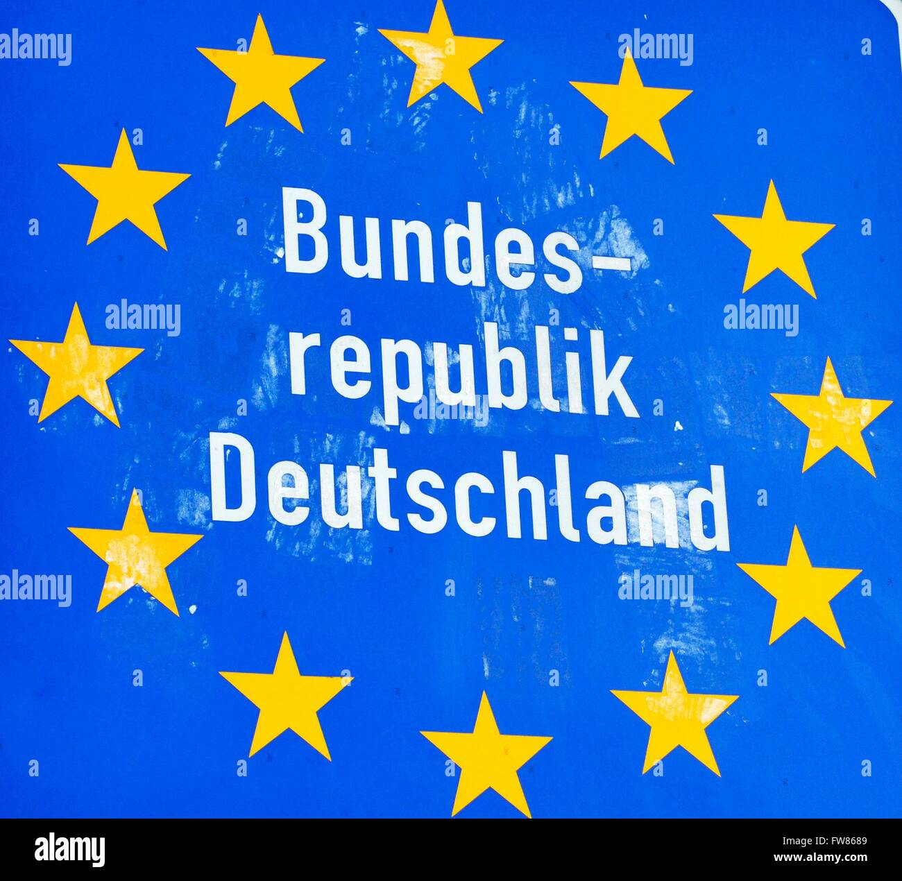 Border sign Federal Republic of Germany sign near Schengen, March 7, 2016. - Stock Image