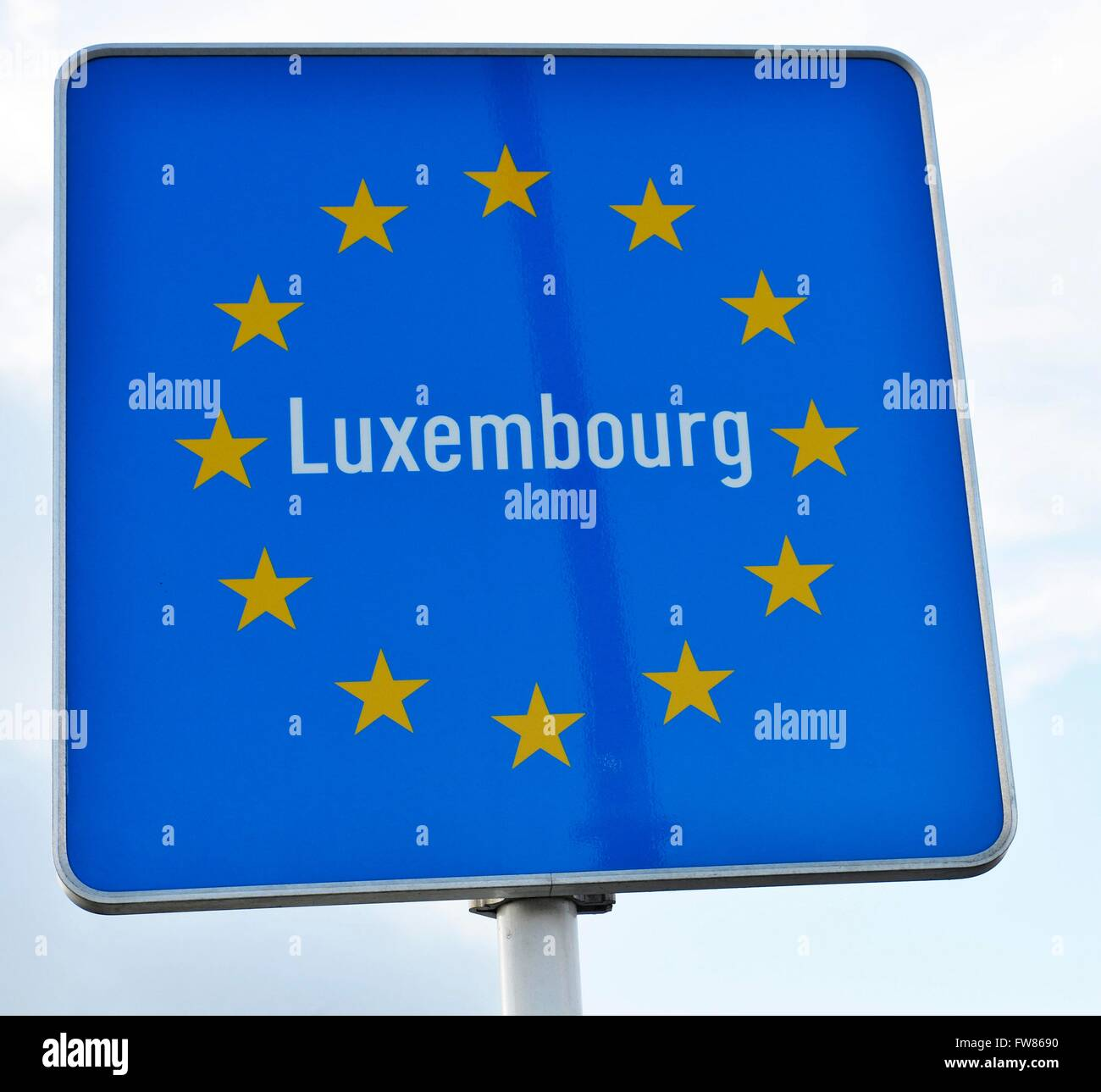 Border sign Luxembourg in Schengen, March 7, 2016. - Stock Image