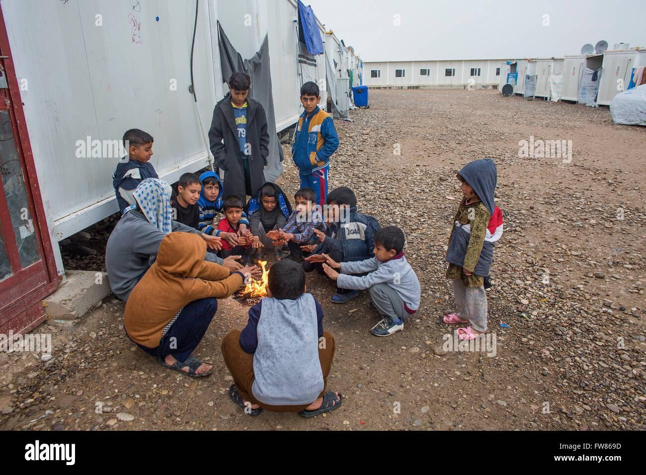 Tazade refugee camp near Kalar city (North Iraq), home to few thousand suni Arab Iraqi - Stock Image