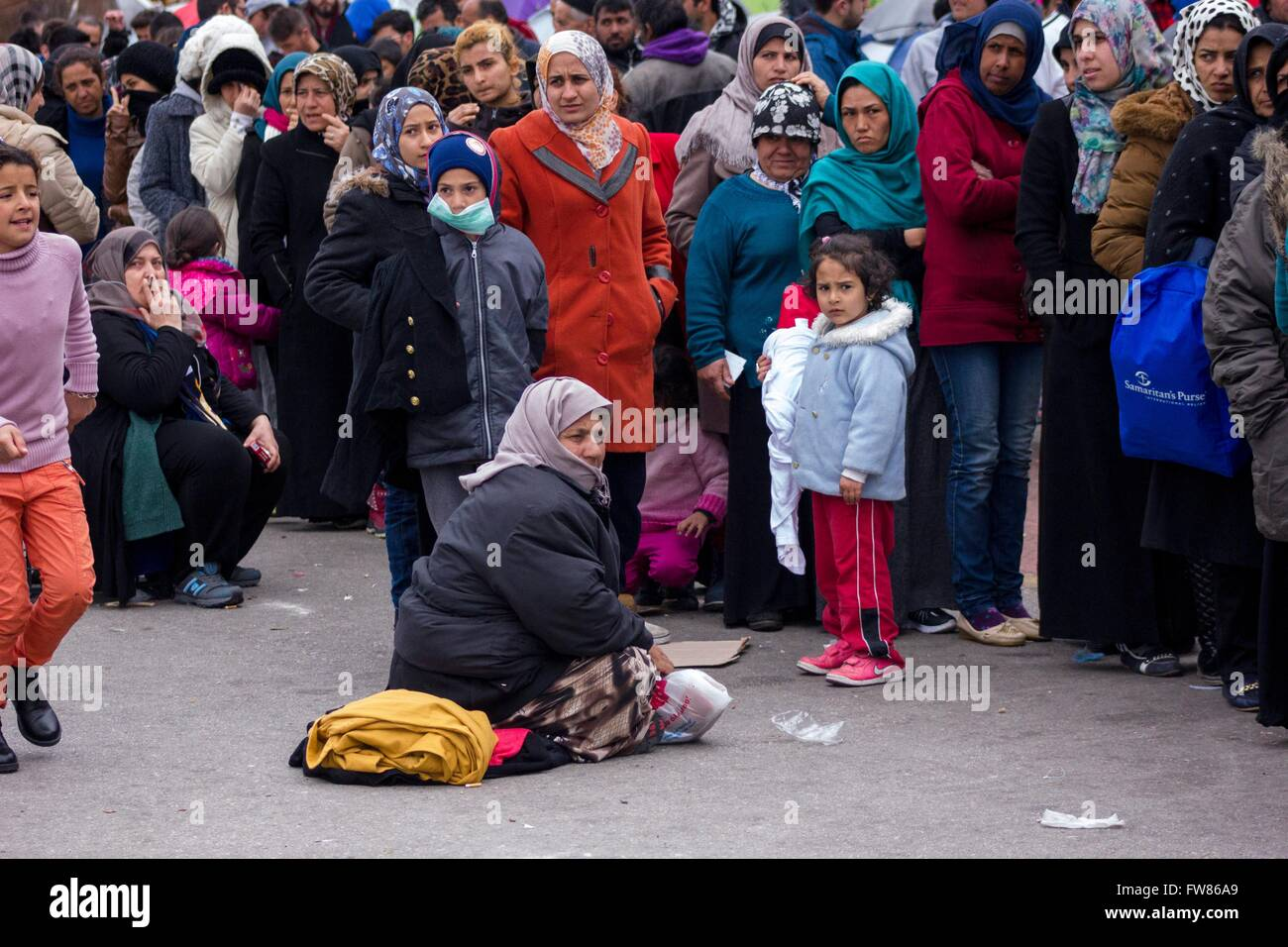 Refugees at habour of Piraeus. Despite difficulties refugees remain at habour of Piraeus, hope for opening of borders - Stock Image