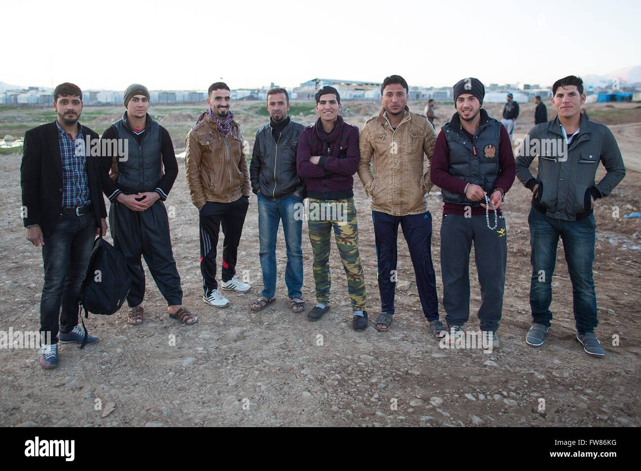 refugee men in Arbat refugee camp in Northern Iraq - Stock Image