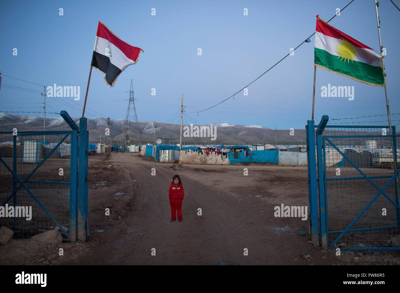 Displaced people in a refugee camp in Northern Iraq - Stock Image
