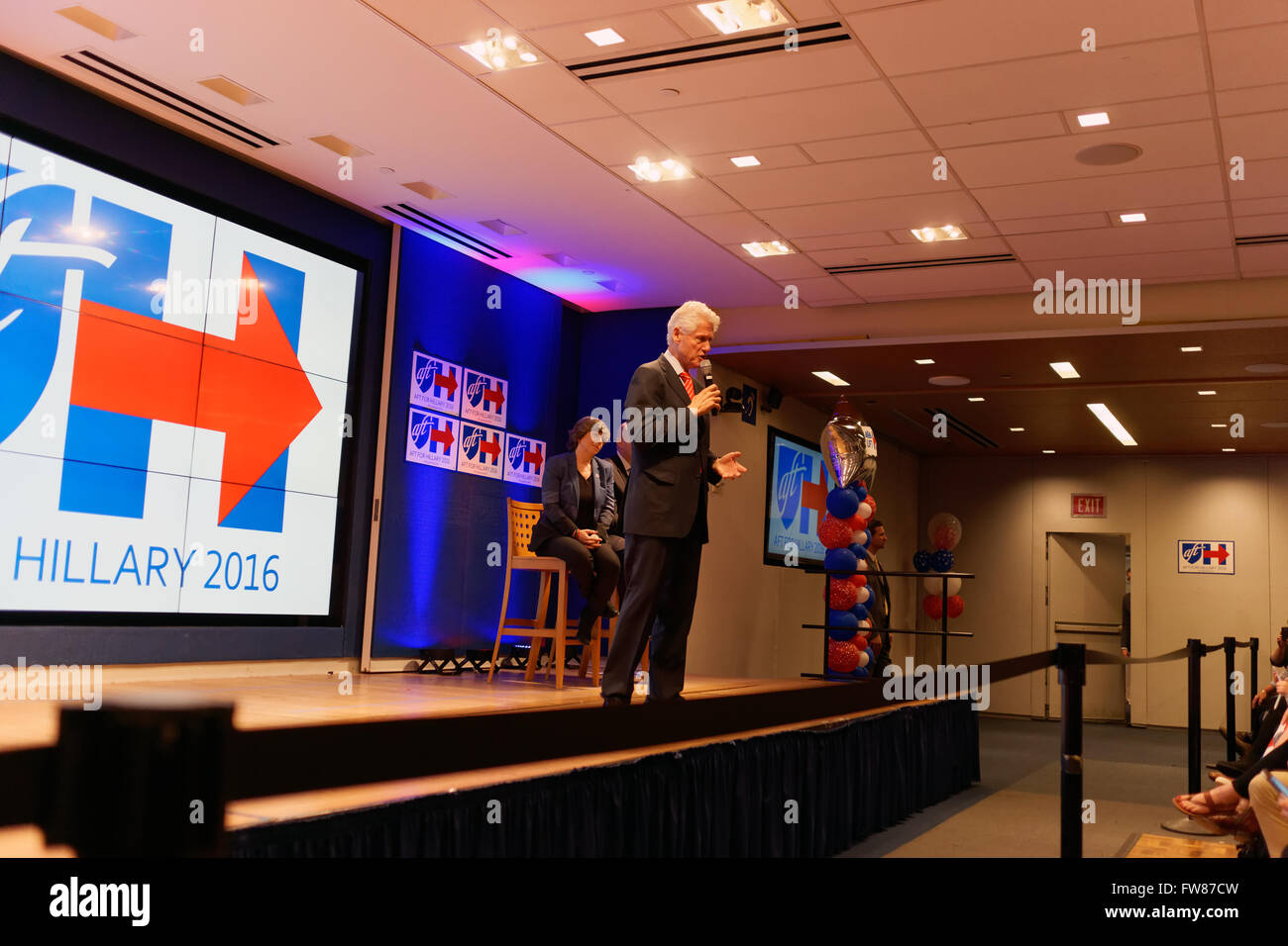 New York, NY, 31st March, 2016. Bill Clinton, former U.S. president, campaigned for his wife, Hillary, who is running Stock Photo