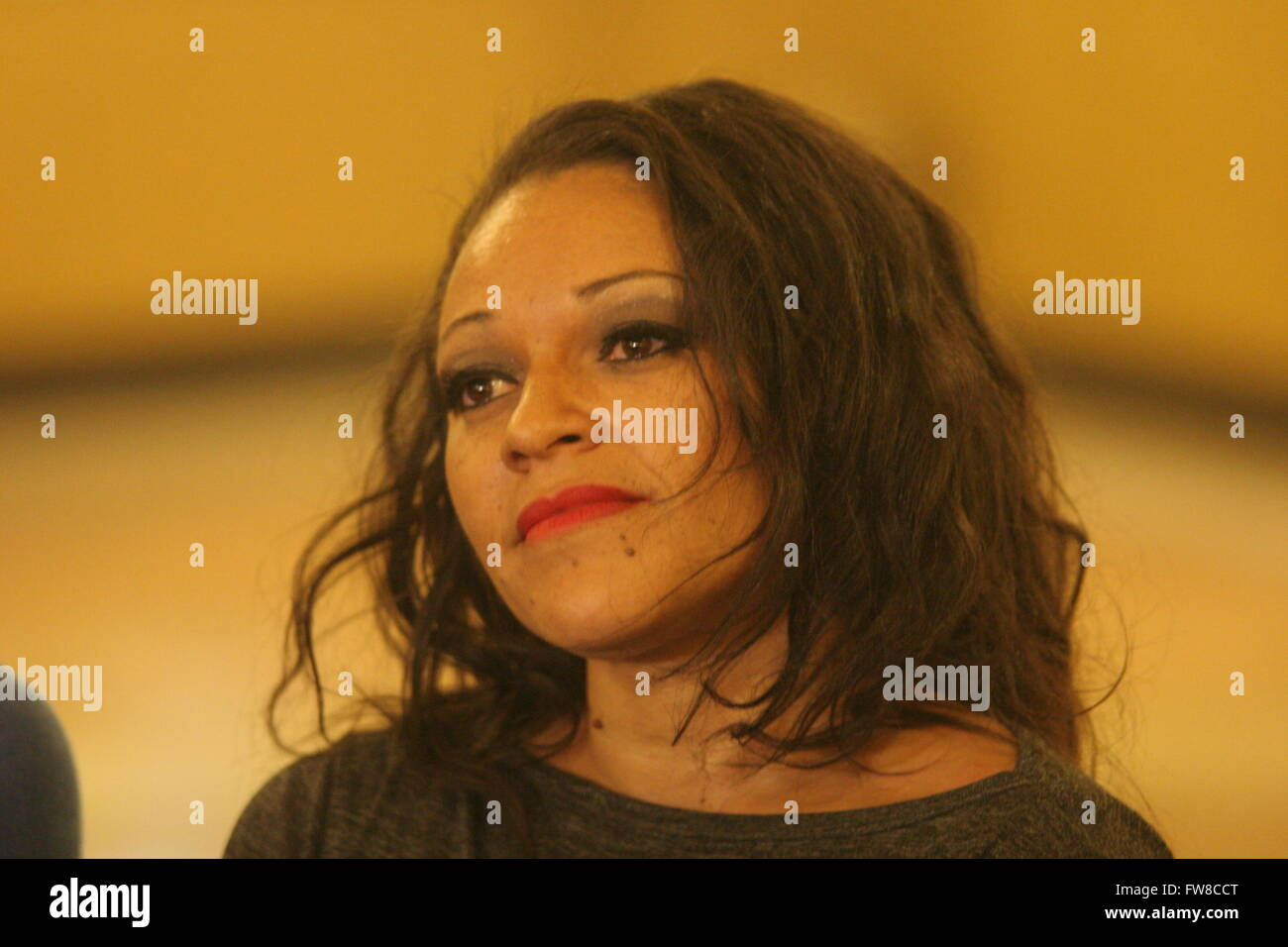 Napoli, Italy. 01st Apr, 2016. Haicha Francesca Toure during the press conference in the foyer of the Teatro Augusteo Stock Photo