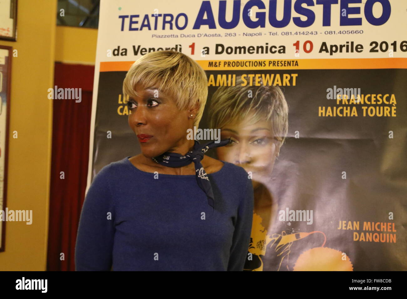 Napoli, Italy. 01st Apr, 2016. Amii Stewart during the press conference in the foyer of the Teatro Augusteo in Napoli. Stock Photo