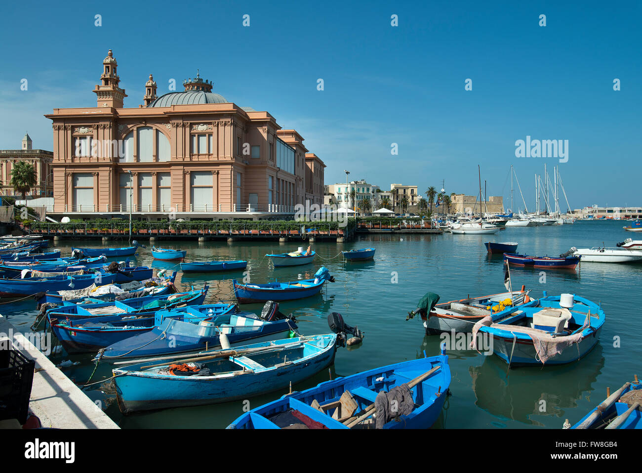 Fishing boats in Harbour, Bari, Italy - Stock Image