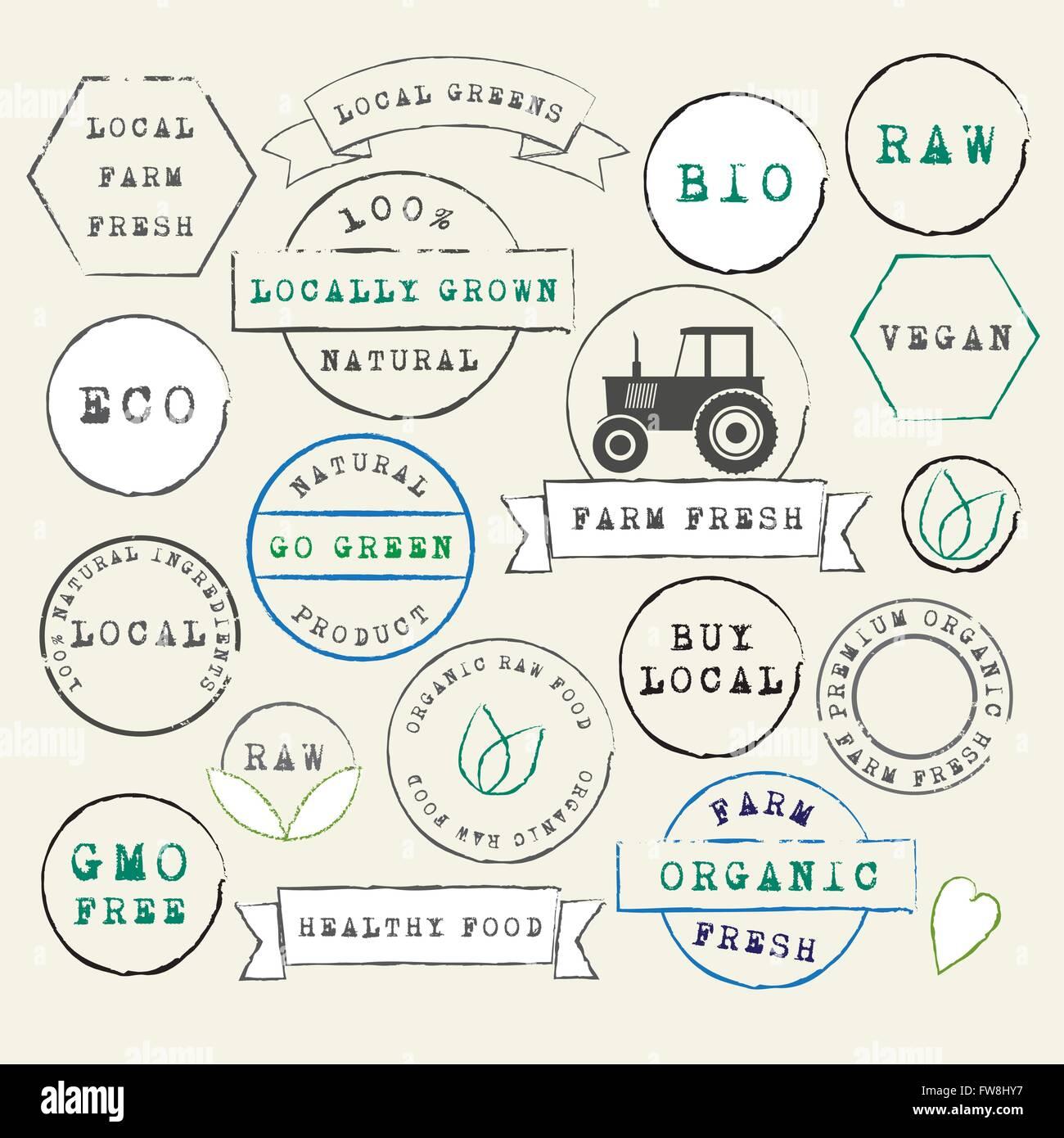 Farm Fresh Organic Stamps Set - Stock Vector