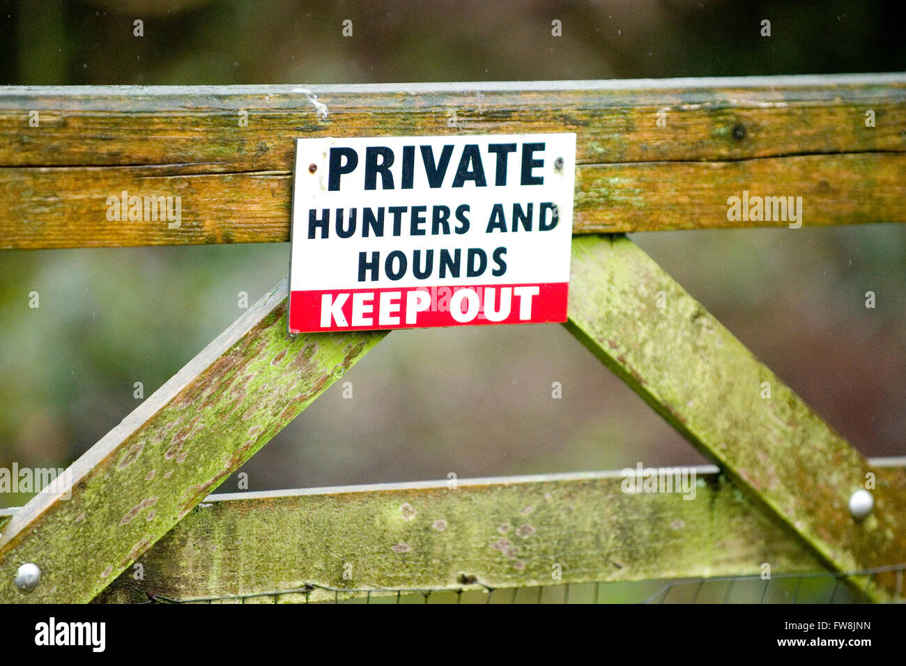 private keep out sign for hunters and hounds - Stock Image