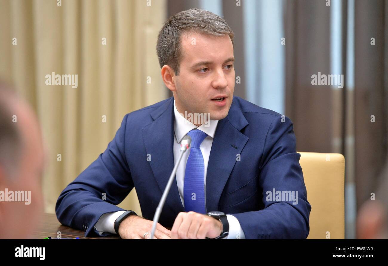 Communications and Mass Media Minister Nikolai Nikiforov during the Cabinet of Ministers meeting with President - Stock Image