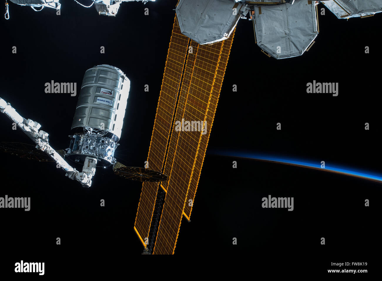 The Orbital ATK Cygnus commercial cargo supply ship is ready to unberth from the Node 1 nadir berthing port at the - Stock Image