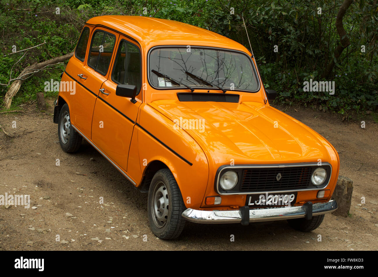 A Classic Orange Renault 4 Stock Photo Alamy