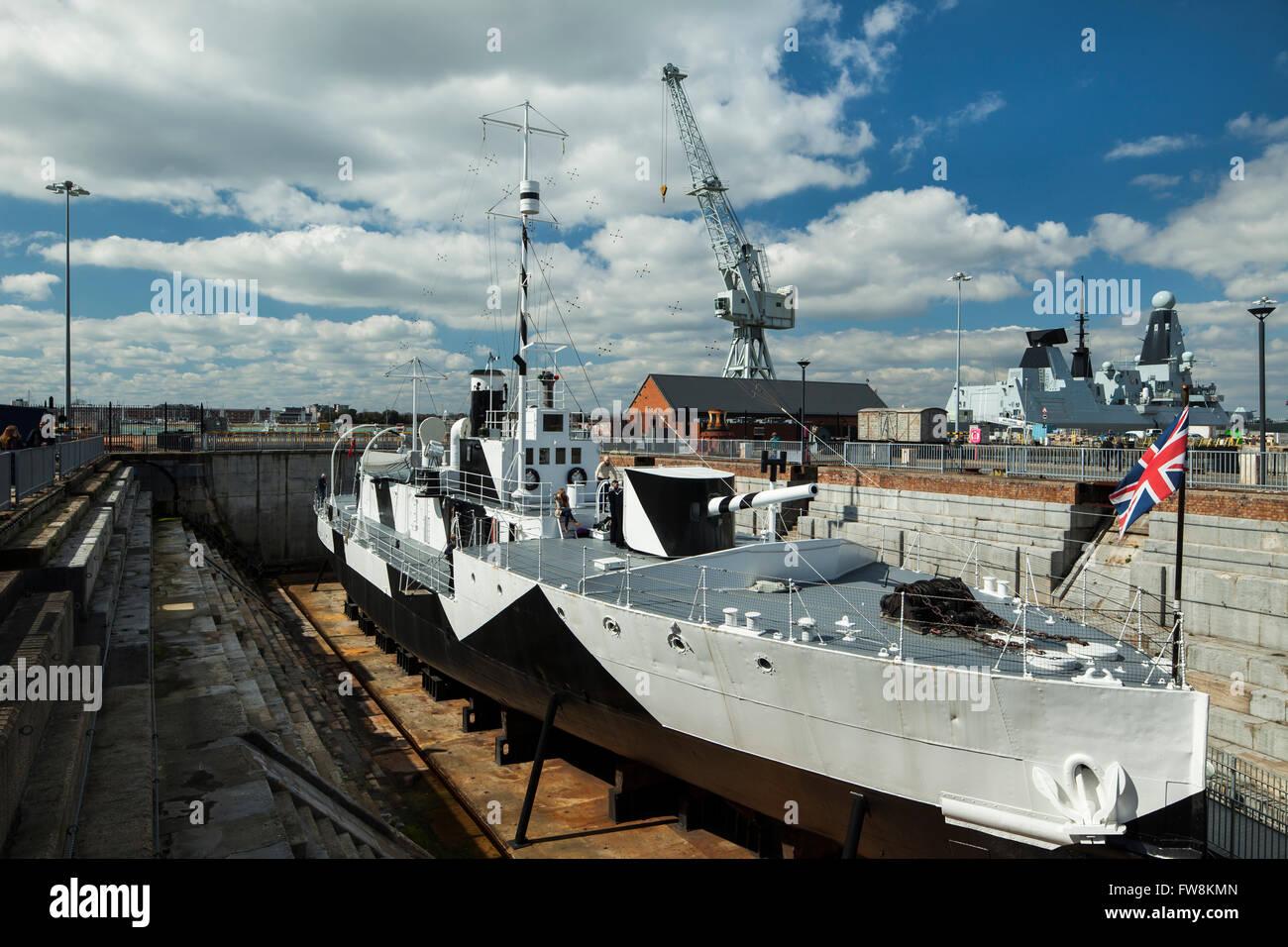 HMS M.33 in Portsmouth Historic Dockyard. - Stock Image