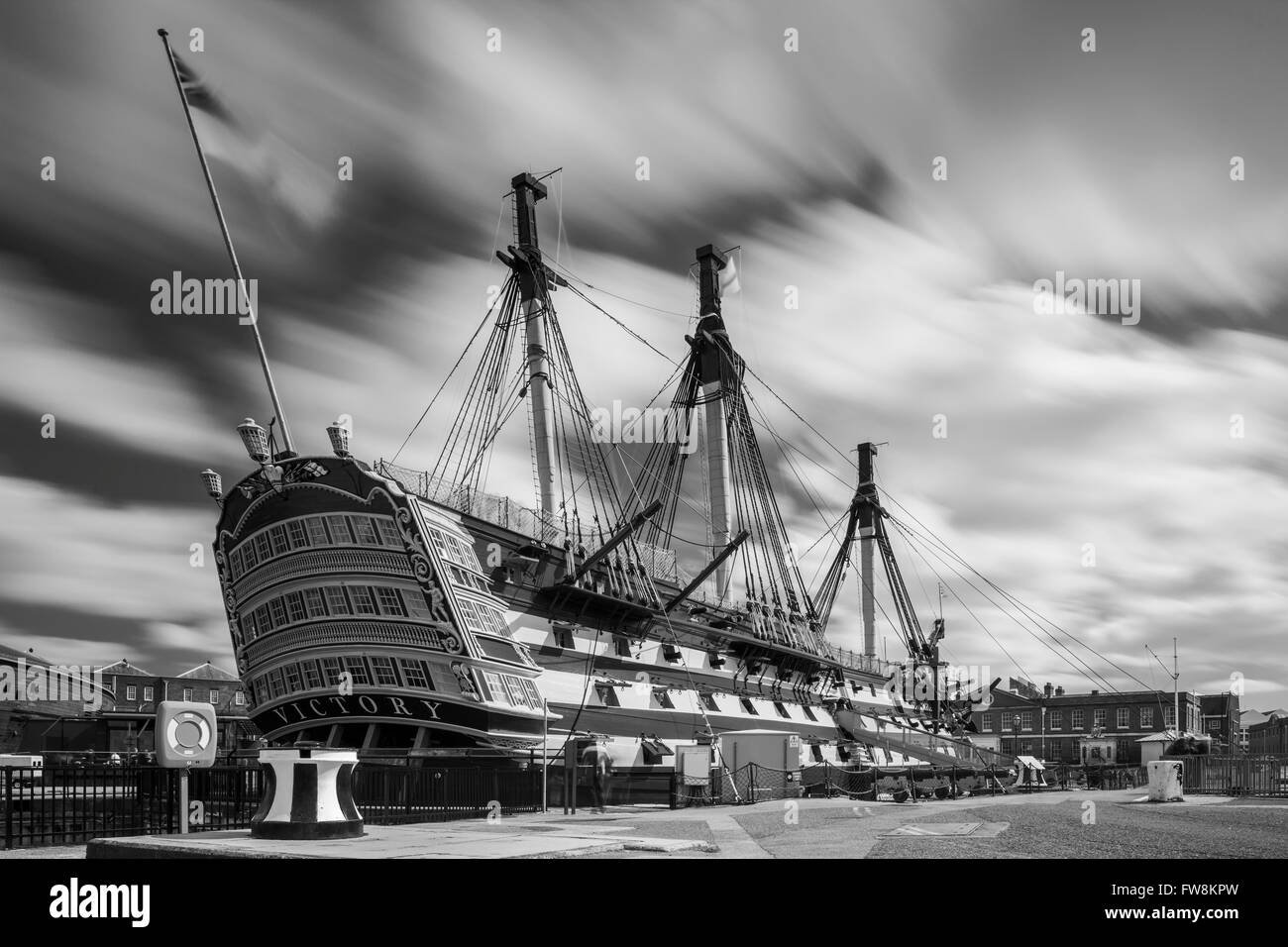 HMS Victory historic Royal Navy ship in Portsmouth Historic Dockyard, UK. - Stock Image