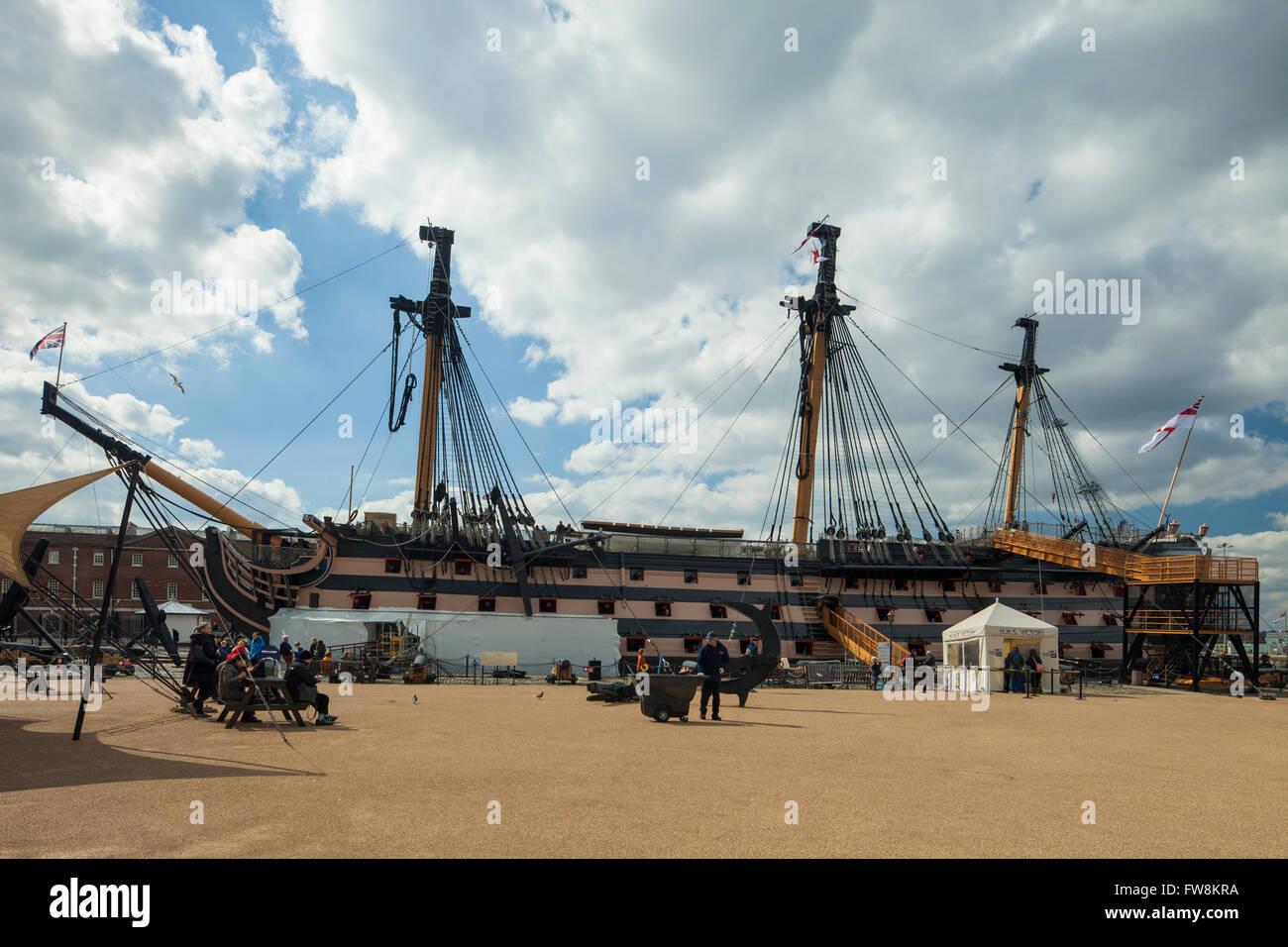 HMS Victory in Portsmouth Historic Dockyard, UK. Stock Photo