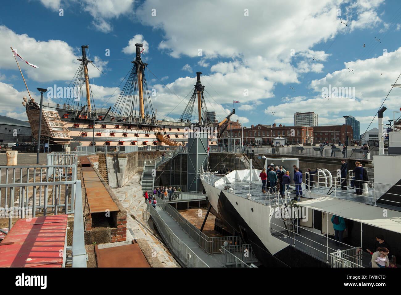 Portsmouth Historic Dockyard. - Stock Image