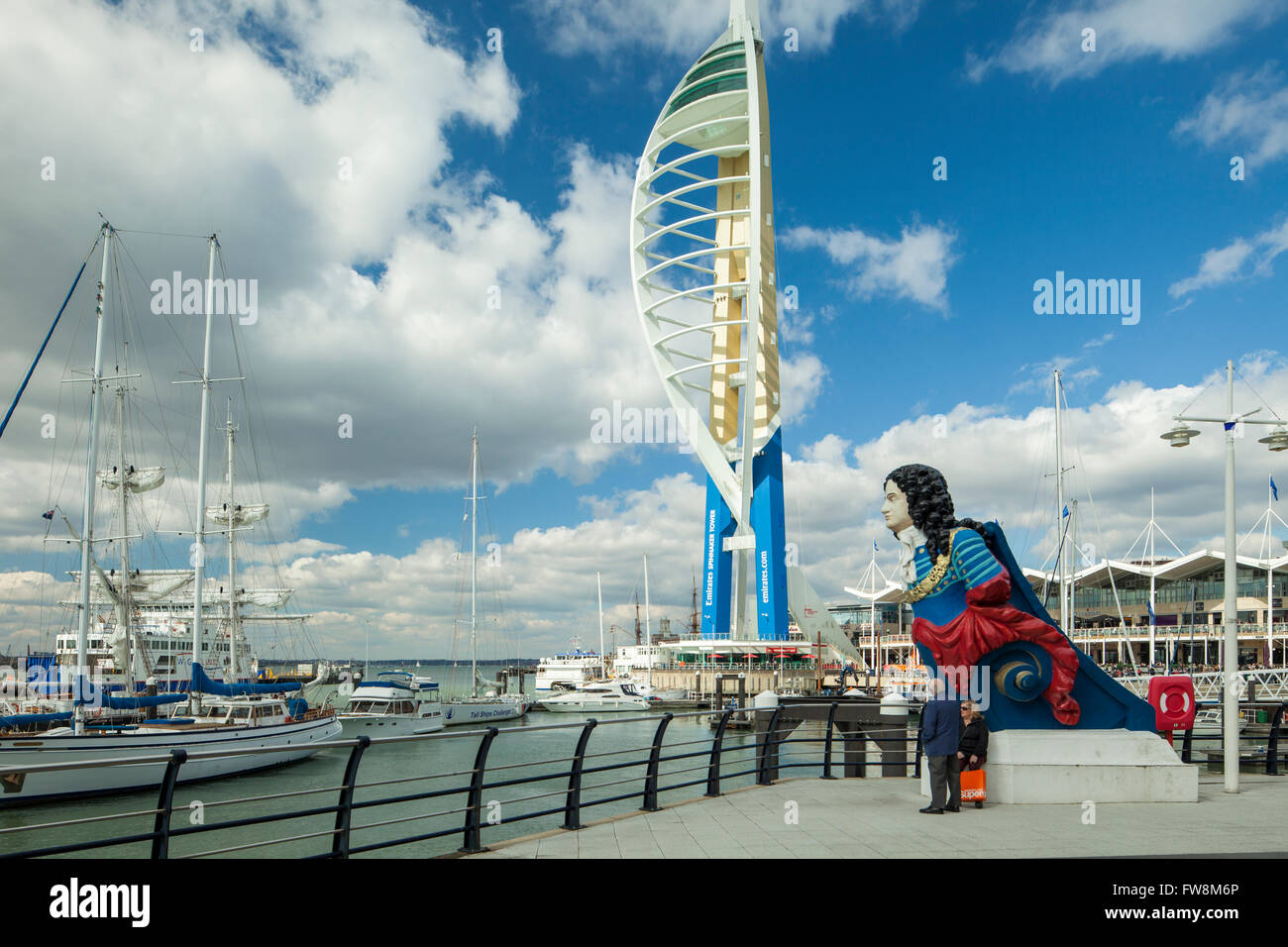 John Churchill figurehead at Gunwharf Quays in Portsmouth Harbour. Spinnaker Tower in the distance. - Stock Image
