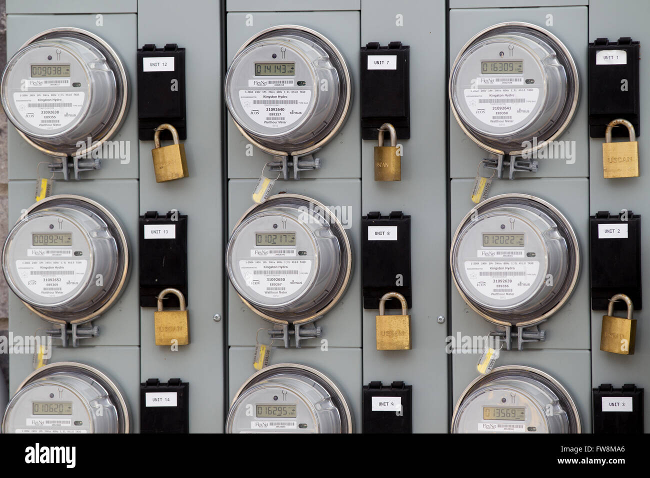 Hydro metres on an apartment building in Kingston, Ont., on Monday Nov. 2, 2015. - Stock Image