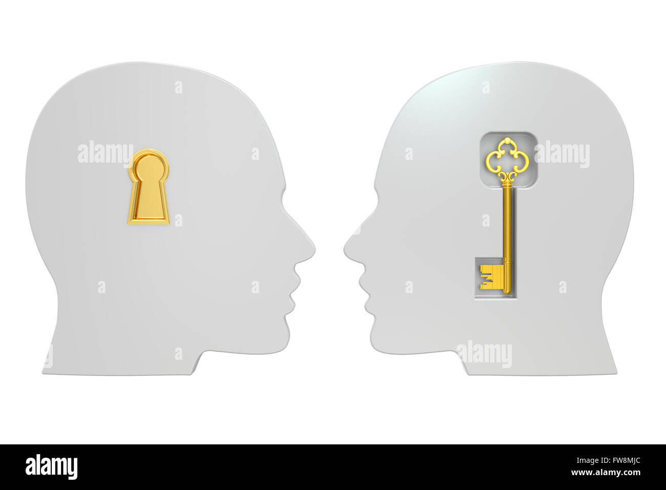 heads with key , 3D rendering isolated on white background - Stock Image