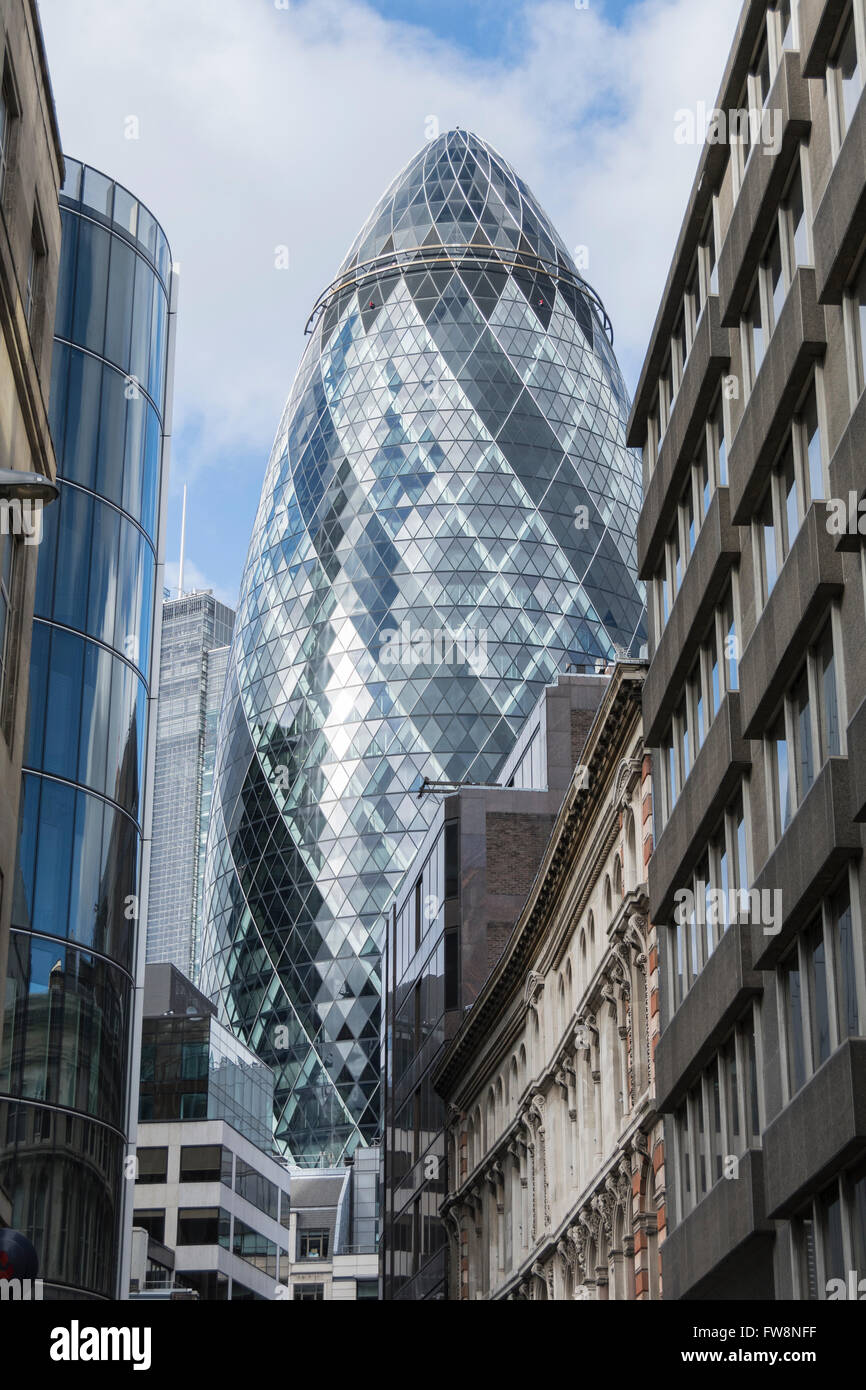 30 St Mary Axe AKA the Gherkin in the City of London, UK - Stock Image