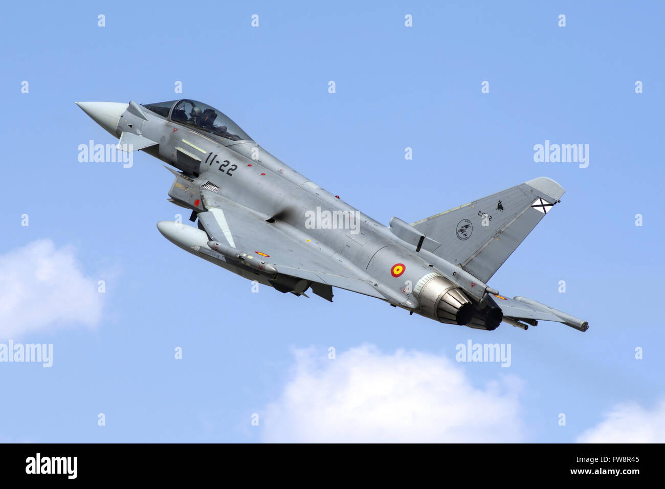 A Spanish Air Force EF-2000 Typhoon taking off from Konya during the international Exercise Anatolian Eagle 2014 Stock Photo