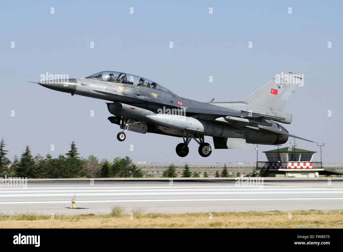 A Turkish Air Force F-16D Fighting Falcon attending the international Exercise Anatolian Eagle 2013-2 in Konya, - Stock Image