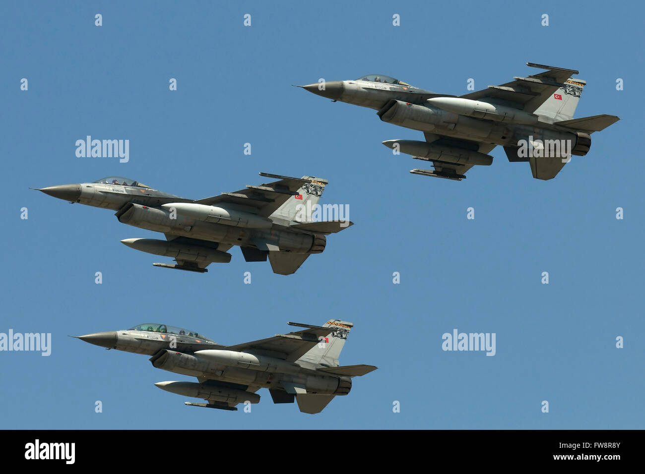 A formation of Turkish Air Force F-16C/D aircraft during the 100th Anniversary of the Turkish Air Force. - Stock Image