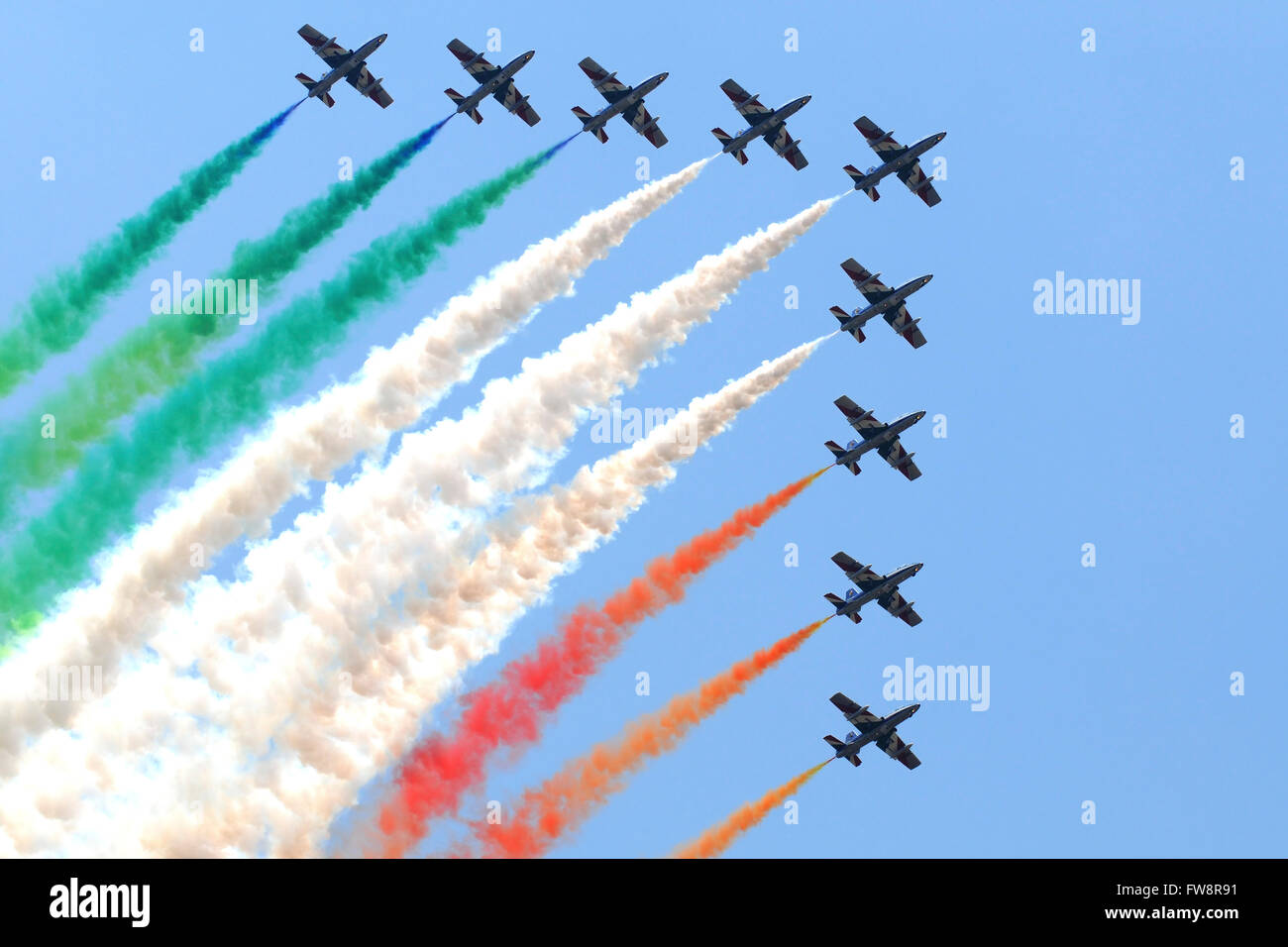 Italian Air Force aerobatic team Frecce Tricolori performing at Izmir Air Show in Turkey, during the 100th Anniversary Stock Photo