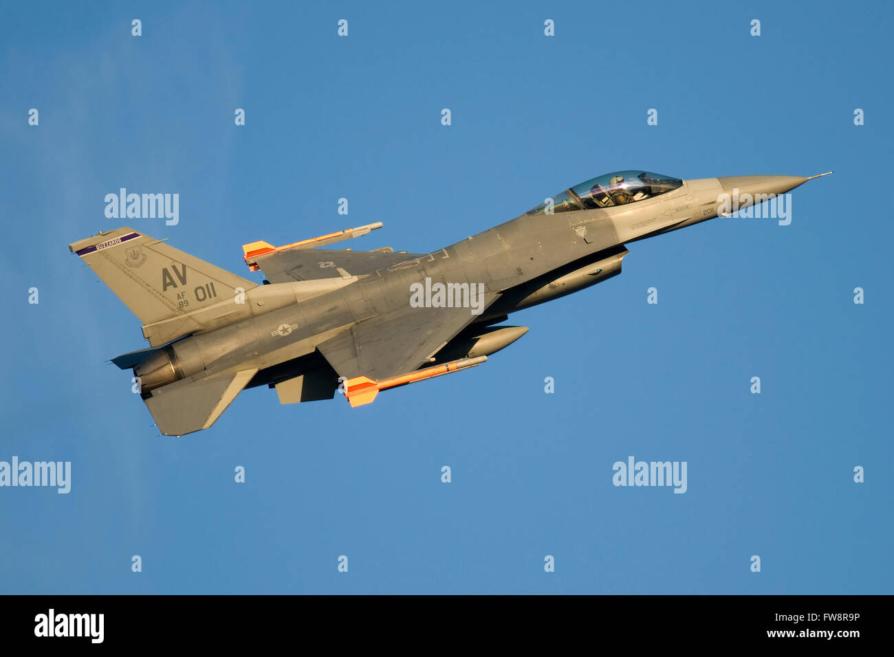 A U.S. Air Force F-16C Fighting Falcon taking off from Aviano Air Force Base, Italy. - Stock Image