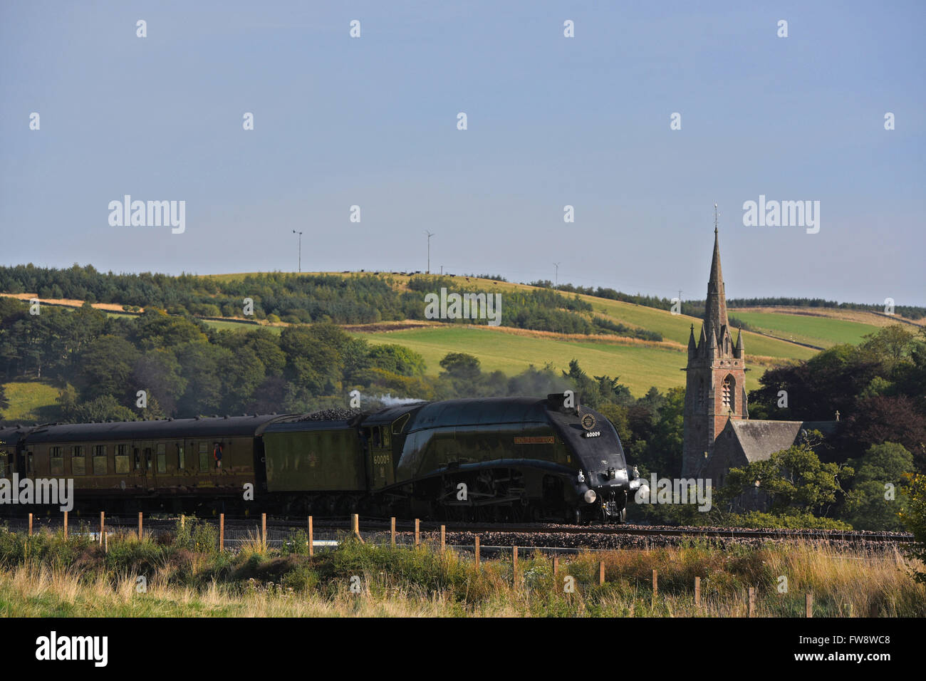 The Union of South Africa steam train passing through Stow in the Scottish Borders. - Stock Image
