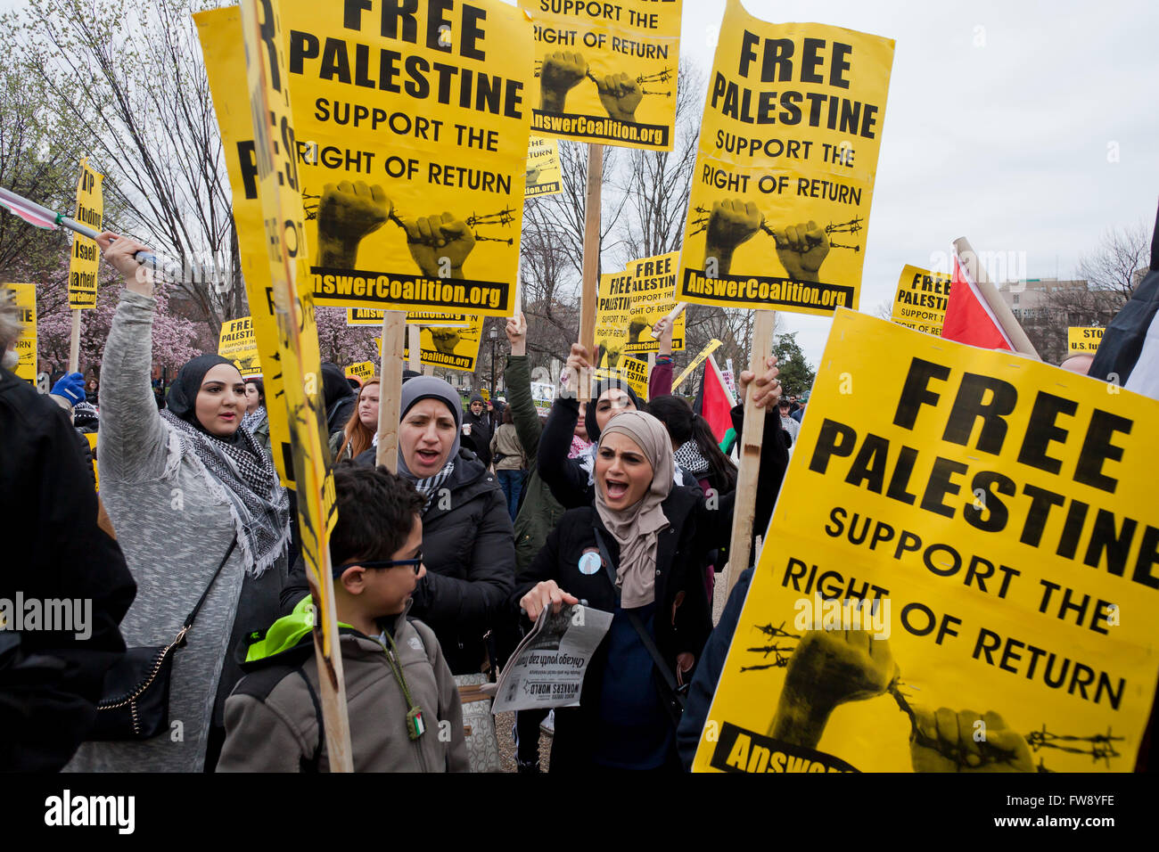Sunday, March 20, 2016, Washington, DC USA: Anti-Israel protesters rally  in front of the White House against AIPAC - Stock Image