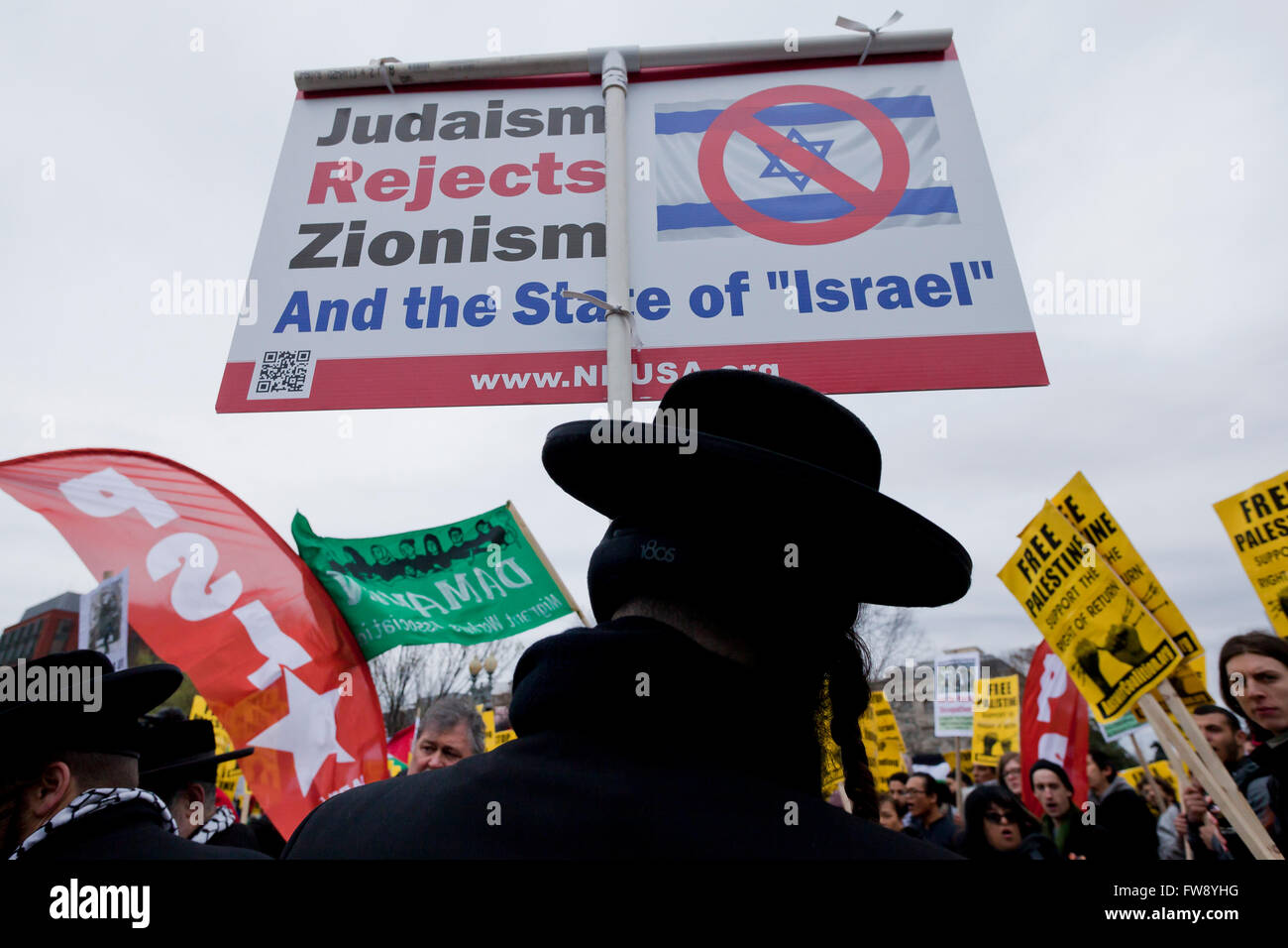 Neturei Karta religious group rallying against Zionism - Washington, DC USA - Stock Image