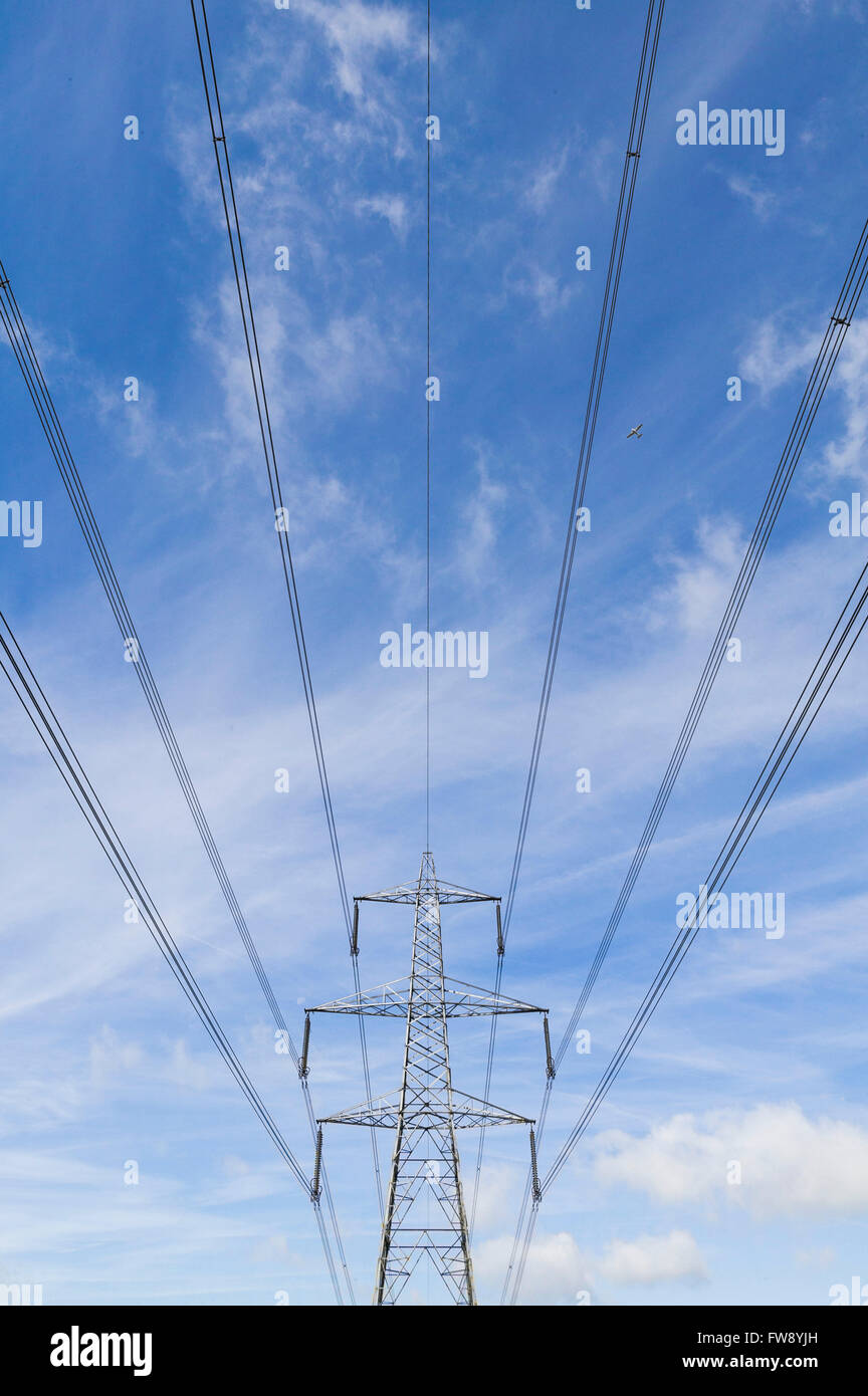 Power Electricity Lines Crossing Countryside Stock Photos & Power ...
