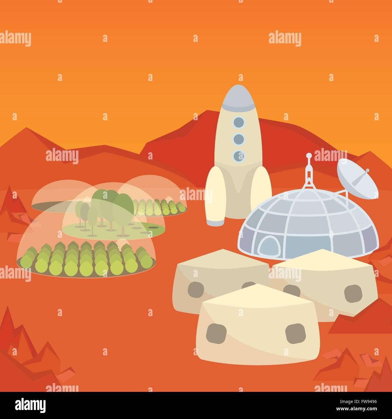 Mars colonization settlement - Stock Vector
