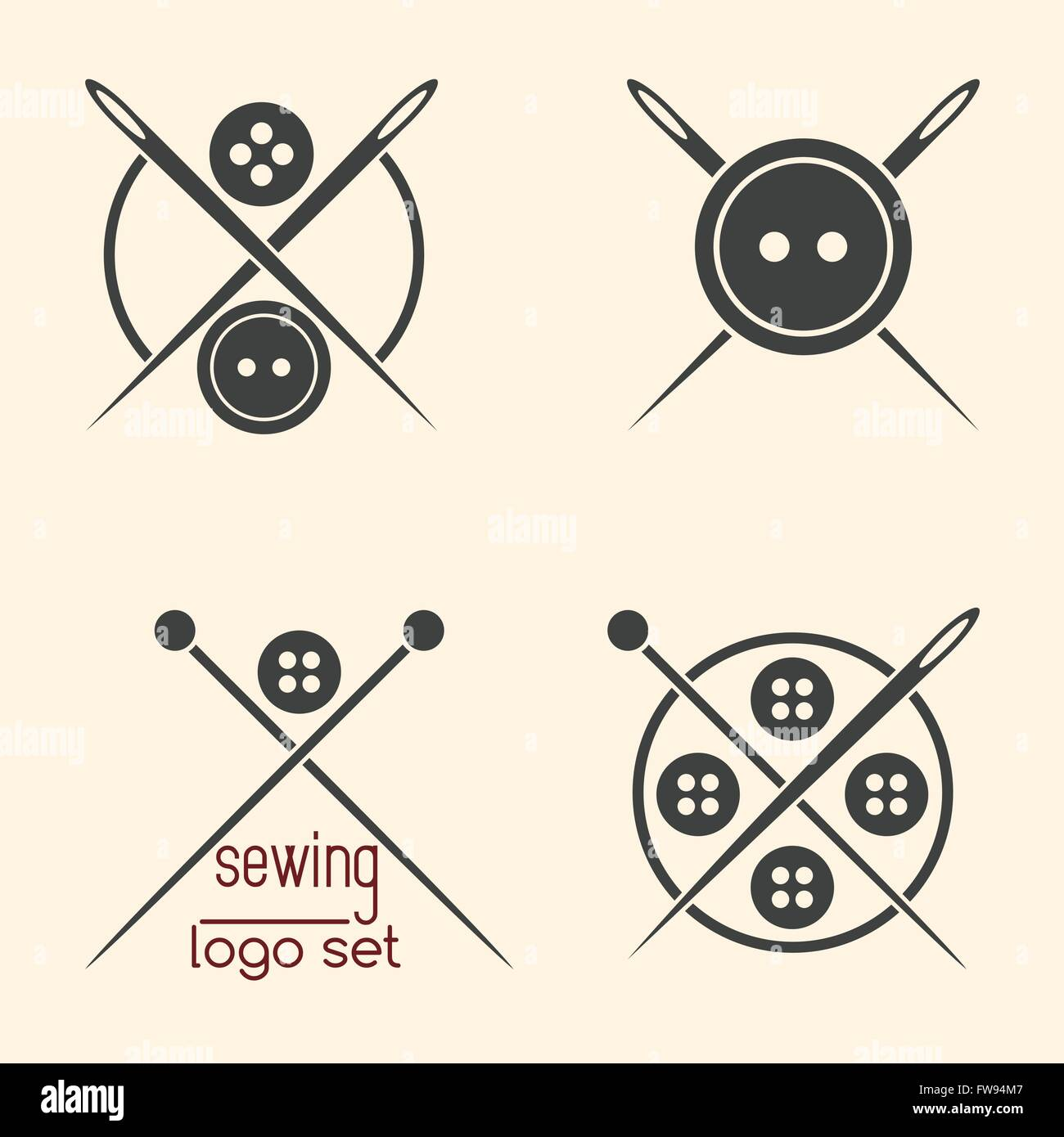 Set of sewing logotypes on beige background - Stock Vector