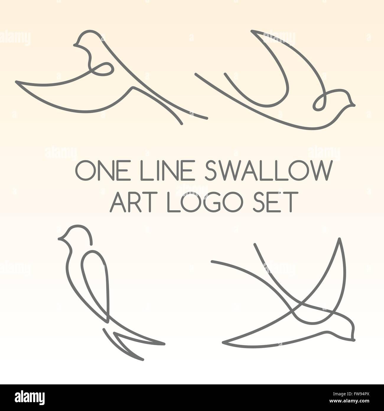 One line swallow art logo set - Stock Vector