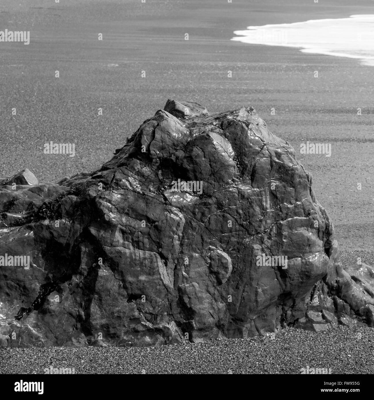 Rock formation on beach, Pacific Rim National Park Reserve, Tofino, Vancouver Island, British Columbia, Canada Stock Photo