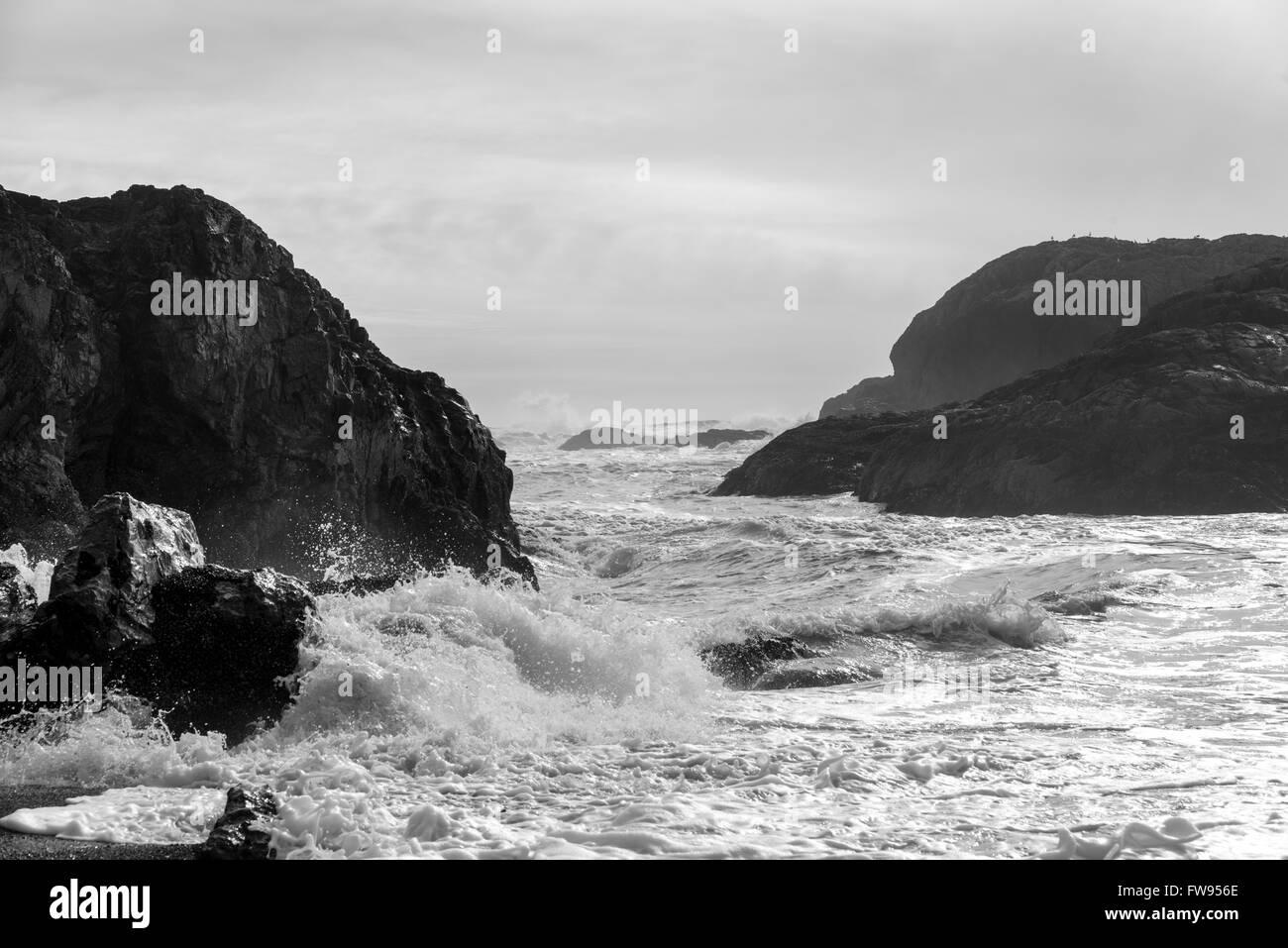 Wave splashing at coastline, Pacific Rim National Park Reserve, Tofino, Vancouver Island, British Columbia, Canada Stock Photo