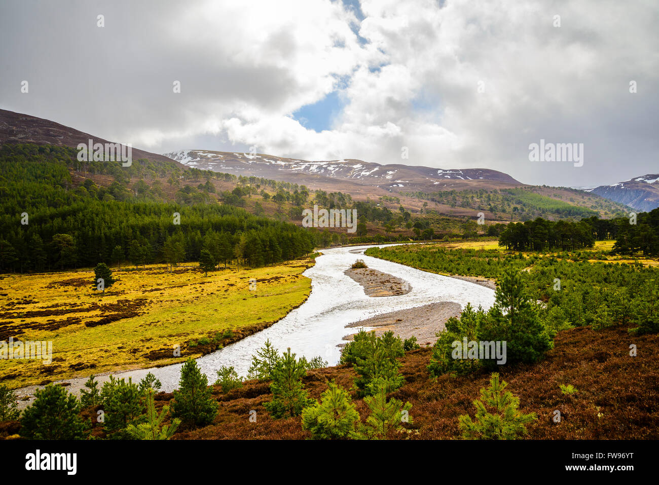 View over River Feshie in Glen Feshie Cairngorms National Park Highland Scotland - Stock Image