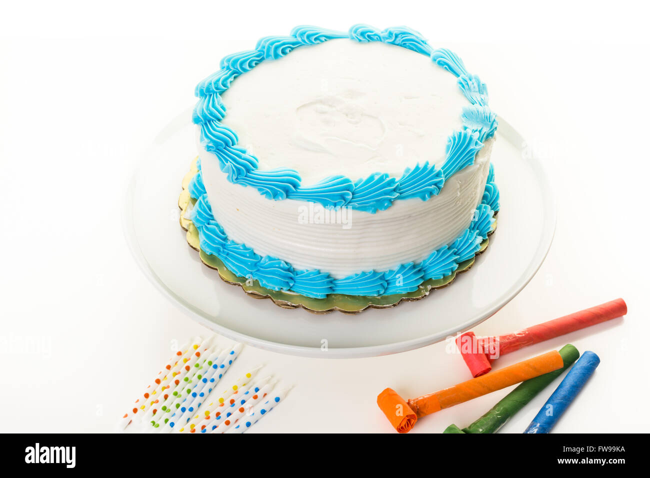 Fine Simple White Birthday Cake With White And Blue Icing Stock Photo Personalised Birthday Cards Akebfashionlily Jamesorg
